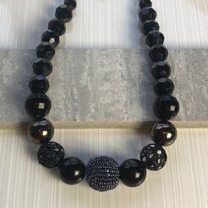 1928 Black Beaded Necklace Statement Chunky